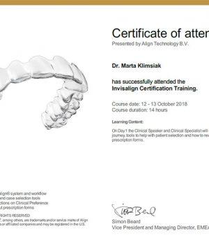 certificate-M-Klimsiak-Invisalign